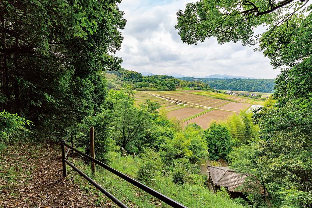 針の耳を上った先は田園地帯を望む爽快な眺め。まさに極楽浄土