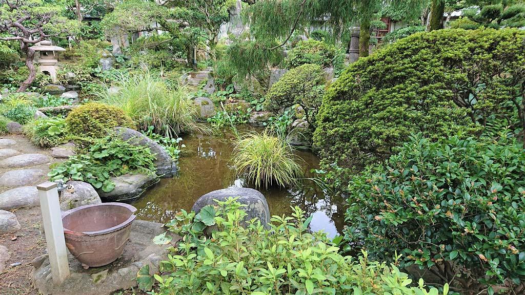 母屋の庭。華美を競う庭ではなく、ありのままの中に趣を見出すことができる